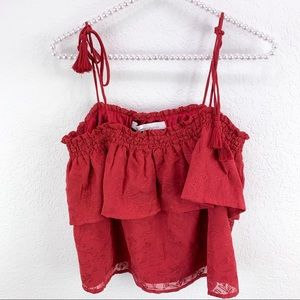 Lovers + Friends Red Embroidered Off Shoulder Top